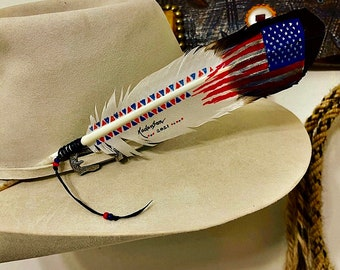 Eagle Feather, faux painted, with patriotic, western retro American native Flag style, proudly made in USA, hand painted, beaded wind tie