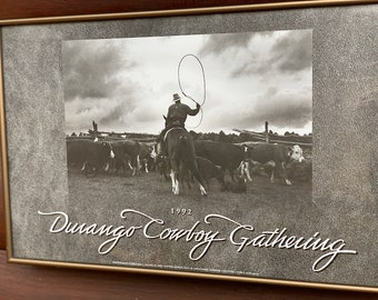 Western photography, 1992 Durango Cowboy Gathering poster by William C. Ellzey II, vintage black and white  working ranch photography art