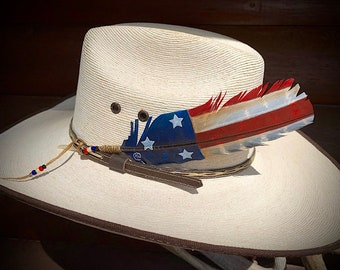 OLD GLORY cowboy hat feather, with new style beaded sinew wrap wind tie, she is weathered and worn but ALWAYS Great!, retro western wear,art