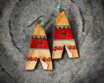 Teepee leather earrings, handmade in USA, boho western, retro, hippie jewelry, dangle drop leather earring, 2 1/2 in drop earring, turquoise