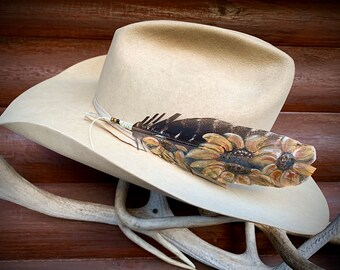 Sunflower cowgirl hat feather, boho hippie hat, cowgirl chic western retro fashion, womens custom hat accessory, hand painted sunflower art