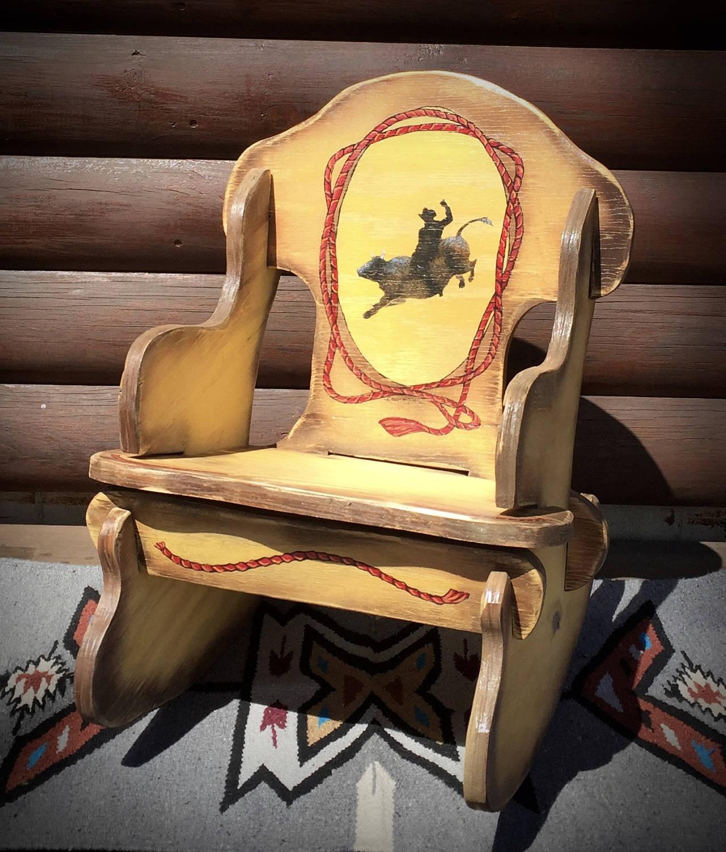 Childrens Western Rocking Chair Personalized Kids Rocker
