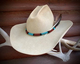 Beautiful ROUND beaded hat band, southwest, western hat accessory, COMBO Special, choice of hat band and feather or Band only, western retro