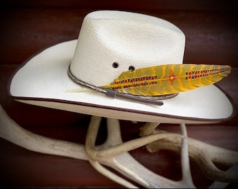Hat feather, New Mexico Zia, golden yellow, red, brown, southwest, western retro fashion, cowboy or cowgirl hat feather, zia, hat accessory