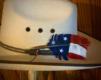 The Lil Stubby hat feather, uniquely trimmed feather for hat, American flag hat feather, patriotic Cowboys and cowgirls, custom western hat