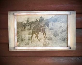 Vintage Frederic Remington print, decoupaged to wood, charging bear, cowboys, horses