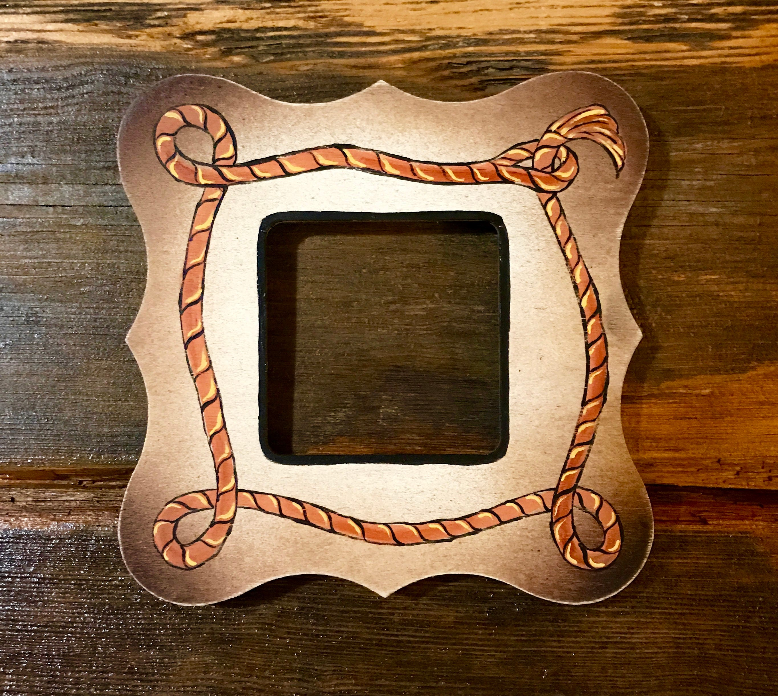 Western Decor Frames: Rustic, Western, Hand Painted, Small Wood Picture Frame