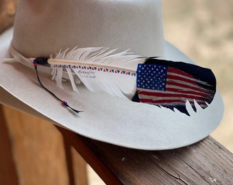Cowboy HAT FEATHER, faux eagle feather hand painted with weathered American flag, red, white and blue patriotic American eagle western retro