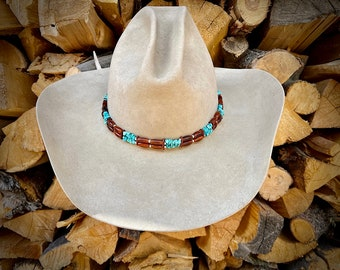 HAT BAND, Bone and Turquoise nuggets, adjustable leather tie, boho hippie hat, western retro, custom hat accessory, cowboy hat, cowgirl Hat
