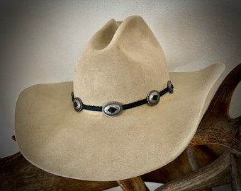 Southwestern CONCHO Hat Band, small 7/8 in wide concho, leather hat band, Choice black or Brown leather, custom hats, boho hippie, handmade