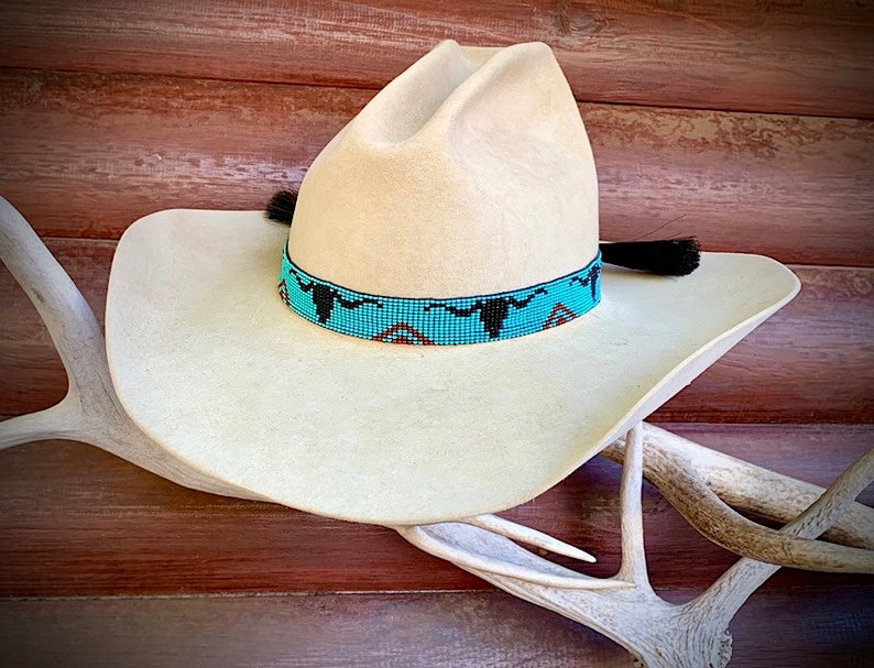 red western hat band with longhorn steer head and horse hair ties with horse hair tassels turquoise beads retro Beaded hat band black