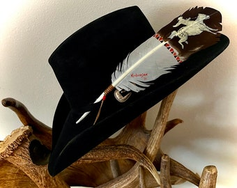 Bronc rider, HAT FEATHER, hand painted faux eagle feather, brown tip, made in USA, cowboy hat feather, beaded wind tie, red, brown, white