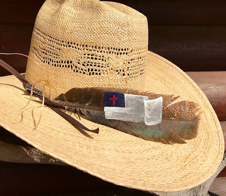 dc51a992615 Custom American hat feathers small Christian flag cowboy hat