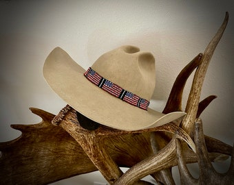 AMERICAN FLAG Beaded Hat Band, patriotic hat band, 2 styles to choose from, cowboy hat, cowgirl hat, custom hats, red, white, blue, western