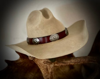 Leather HAT BAND, with rustic antiqued silver conchos, Your CHOICE Black or brown leather band, western, boho, hippie, retro hat accessory