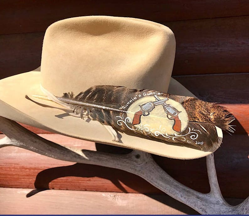 789074ec6a7b5 Cowboy action Shooter custom hat feather painted turkey