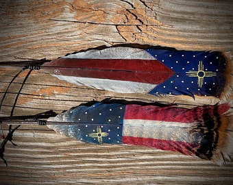 New Mexico patriotic HAT FEATHERS, custom hand painted hat feathers, American flag, Zia symbol, cowboy hat accessories, cowgirl hat, zia