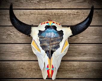 Buffalo Skull, hand painted arrowhead with white buffalo scene, tribal pattern, authentic real Buffalo skull, western, wall hanging art
