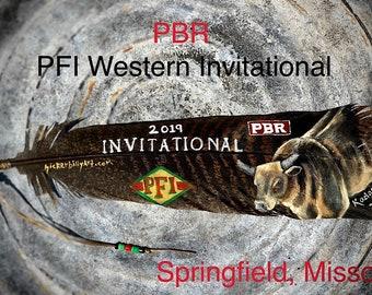 Custom AWARD hat feather, logo and portrait, advertisement, championship award, PFI Western Invitational, bucking bull, PBR bull riders, art