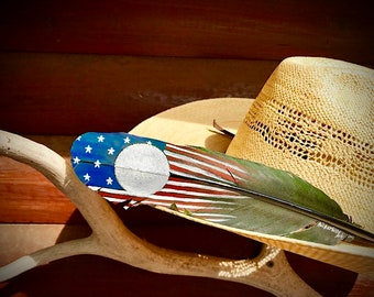 Hat feather, custom cowboy hat feather, faded glory, hand painted flag on black feather, venue for brand or initials, american, patriotic