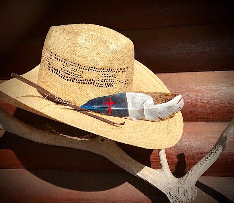 939931c18e7 Custom American hat feather Christian flag cowboy hat