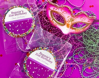 b106ef8c7 Purple Bubbles Personalised Birthday Chocolate Freckle - Min. Order 12