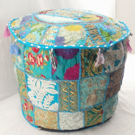 Vintage Ethnic Indian Handmade Khambadia Ottoman Pouf Seating Foot Stool Cover Patchwork Seating Day Bed