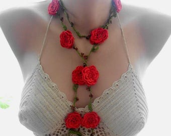 crochet necklace, red crochet necklace, crochet lace jewellery,  crochet flower necklace, beaded necklace, gift for her