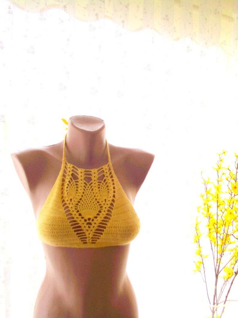 yellow halter top festival tops crochet top beach wear woman swimwear yellow crochet bikini top