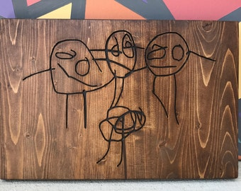 Your child's drawing custom carved in wood (8x10)