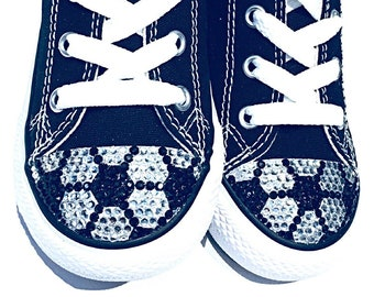 ccaec45f7ae2 Bling Converse Soccer Shoes. Custom Made Bedazzled Converse Toddler Shoes