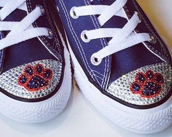 2f67cb660 Dog Cat Paw Print. Women s Custom Converse Shoes. Animal Paw Print Bling  Shoes. Dog Lover