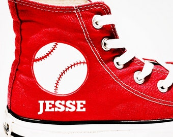 2be4eb376988 Baseball Converse Shoes. Personalized Baseball Converse with Baseball Icon.  Men or Women s Shoes. Gift for Baseball Mom or Baseball Dad