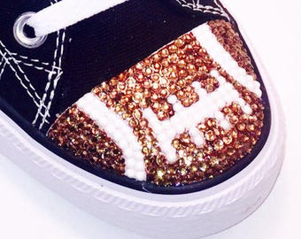 Football Blinged Converse Low Tops. Womens Custom Superbowl Shoes. Football Players, Football Fans, Football Moms. Gift for Mom,Gift for Her