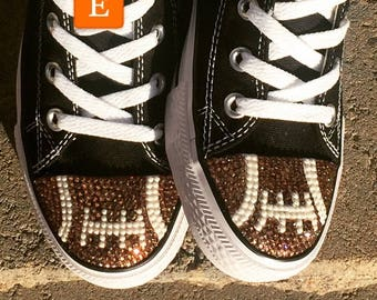 Football Blinged Converse High Top Shoes. Womens Custom Shoes. Superbowl Shoes. Football Players, Football Fans, Football Moms. Gift for Her