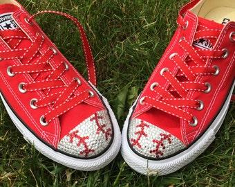 Red Baseball Converse Blinged Shoes. Women's Custom Converse. Personalized Gift: Baseball Mom, Baseball Player, Baseball Fans. Gift for her
