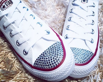 9bec47c8514 Women s (Size 6) White Low Top Bling Converse Shoes. Clear Rhinestone  Converse. Flat Bride Shoes