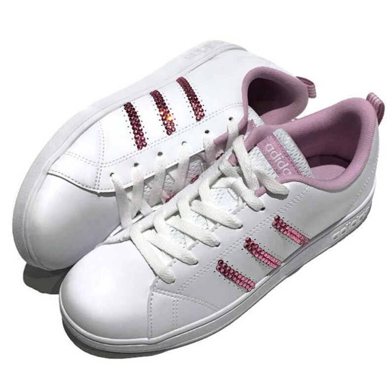 190d58bd02a4 Womens Adidas Bling Shoes. Adidas White   Pink Shoes.