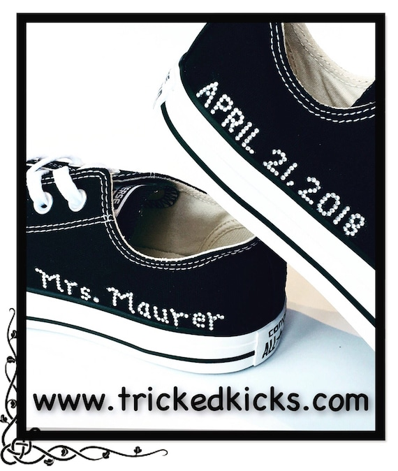 Custom Rhinestone Add On. Customized Bling Converse. Custom Date, Name, Extra Bling. Personalized Gift. Sports Number, Wedding, Bat Mitzvah