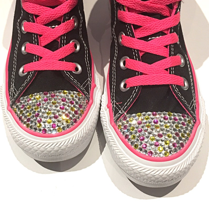e5acf35e3fa5 SALE Black Pink   Yellow High Top Blinged Converse Shoes