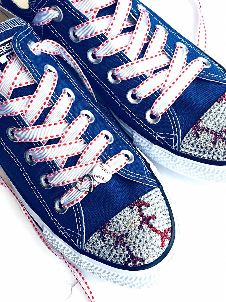 20a25149aee Baseball Bling Converse Shoes. Baseball Mom Gift. Women s