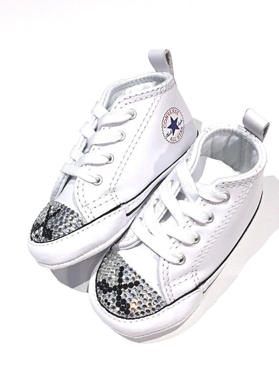 dceeb492f57e63 SALE Hockey Blinged White Leather Converse Shoes. Size 3