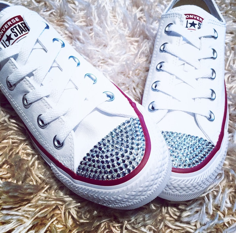 799cdf330967cc SALE Ready to Ship Women s Size 6 White Low Top Bling