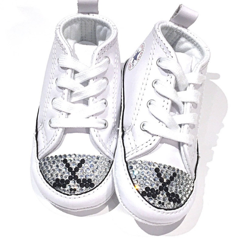 3e7d2f57063d SALE Hockey Blinged White Leather Converse Shoes. Size 3