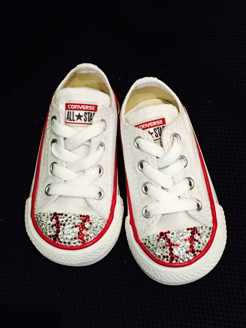 598548956b08 Baseball Blinged Converse Shoes. Custom Made Baseball Toddler