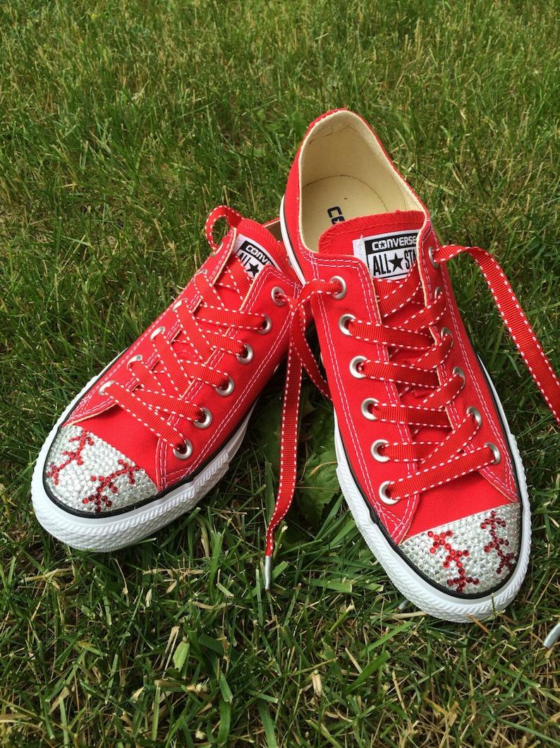 c1e490d9d34 Baseball Converse Shoes. Baseball Mom Gift. Women s Bling