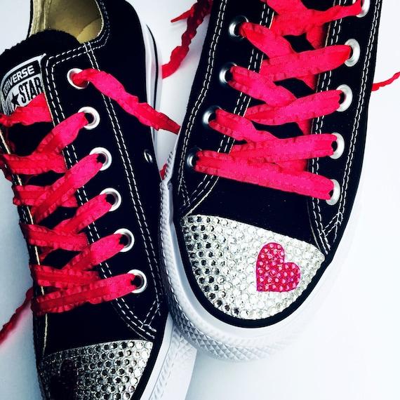 Custom Converse Heart Bling Shoes. Bridal Converse Shoes, Heart Design. Flat Shoes for Weddings, Bat Mitzvahs, Dress Shoes. Christmas Gift