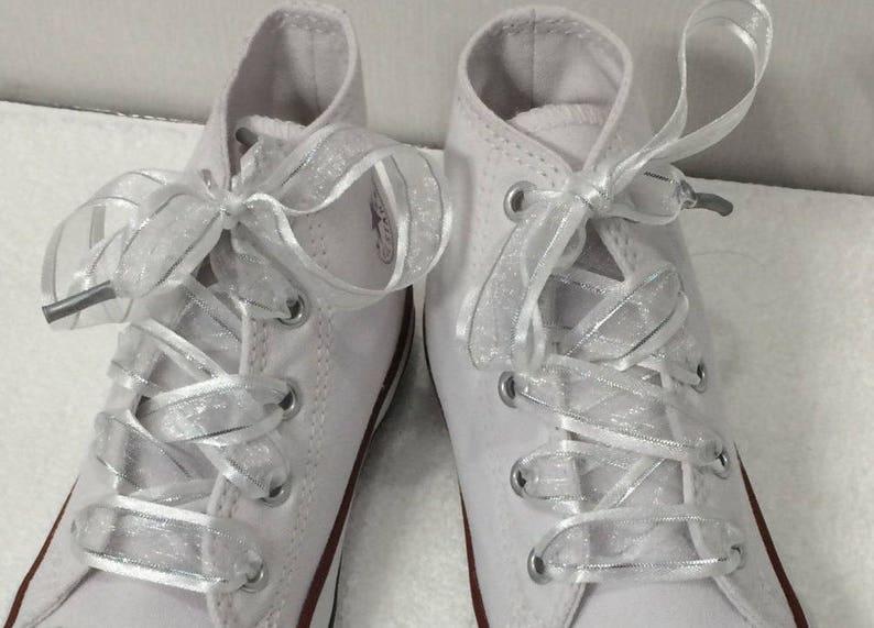 5d0f4d60e534e White & Silver Flat Organza Lace Shoelaces. Metallic Silver and Satin Edge.  Converse Shoes, Bride Shoes, Weddings, Fancy Shoes, Dress Shoes