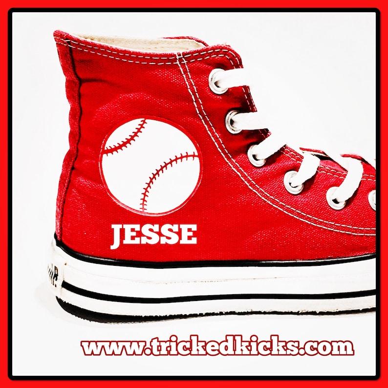 249a3c5d96f5 Baseball Converse Shoes. Personalized Baseball Converse w