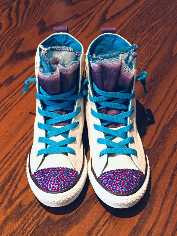 1c9d48ea1e9a7 SALE! Ready to Ship! Girl's (Size 1.5) Gray/Purple/Blue Low High Bling  Converse Shoes w/ Dots. No-Tie Laces. Tulle Tongue, Flower Girl Shoes